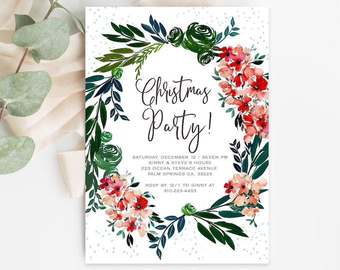 CHRISTMAS PARTY INVITATION Template, Fully Editable, Instant Download, Wreath, Watercolor, Greenery, Digital Invite, Templett, Holiday Party