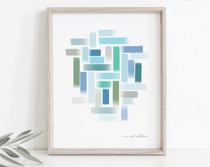 Modern Watercolor Print, Printable or Printed, Cool Tones, Geometric Brushstroke, Abstract Watercolor, Marine Blue, Ocean Blue, Contemporary