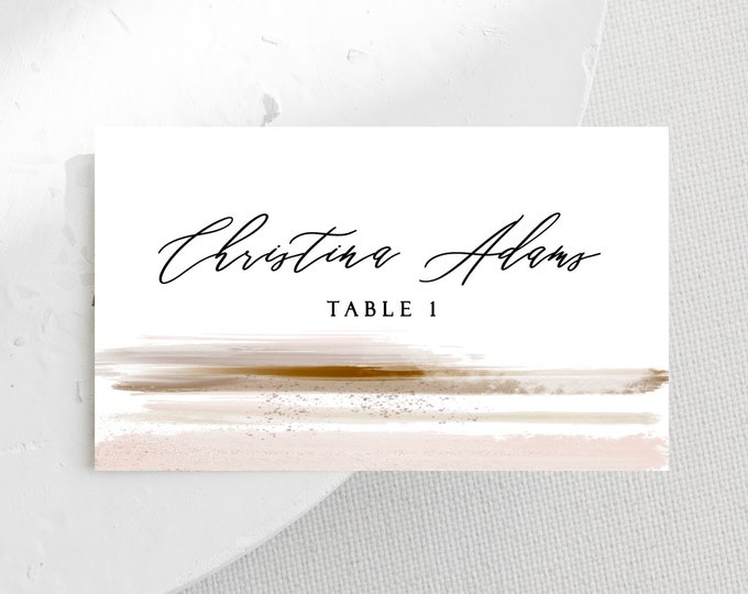 Wedding Place Card Template, Place Cards Wedding, Minimalist, Blush, Copper, Dinner, Escort Card, Printable Namecard, Instant Download 103