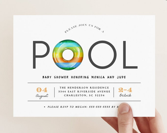 Pool Party Baby Shower Invitation, Printed or Digital, Baby Boy, Sprinkle Invite, Summer, Co-ed, Gender Neutral, Beach, Tropical, Template