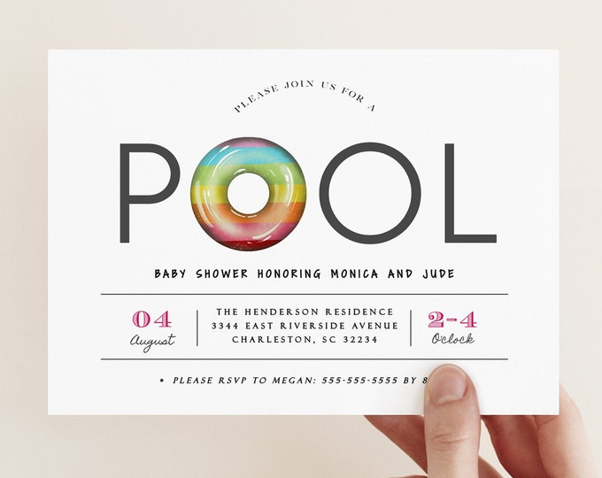 Pool Party Baby Shower Invitation, Instant Download or Printed, Baby Sprinkle Invite, Summer, Luau, Tropical, Editable Template, Digital