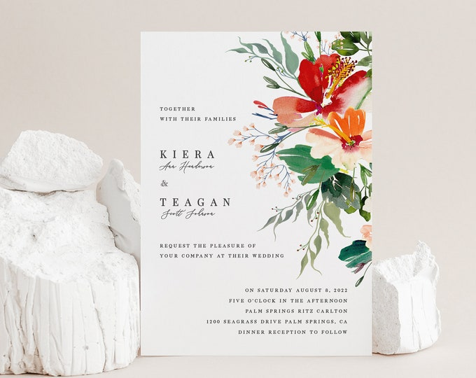 Tropical Wedding Invitation Suite, INSTANT DOWNLOAD, Destination Wedding Invite, Printable Template, Editable Invitation, Flowers, Set, 007