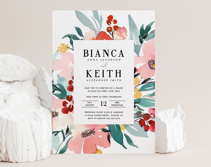 Tropical Elopement Reception Template, Announcement, We Eloped, Watercolor, Mint, Blush, Instant Download, Digital Download, Editable Text