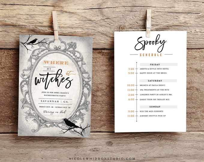 Halloween Bachelorette Party Invitation, Editable Itinerary, Instant Download, Fall Bachelorette Party Invite, Spooky Bachelorette Digital