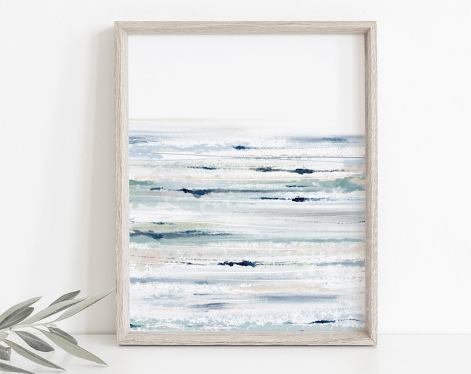Abstract Coastal Art Print, Blue, Green, Printable Wall Decor, Living Room Art, Modern, Minimalist, Gift for Him, Downloadable, Ocean