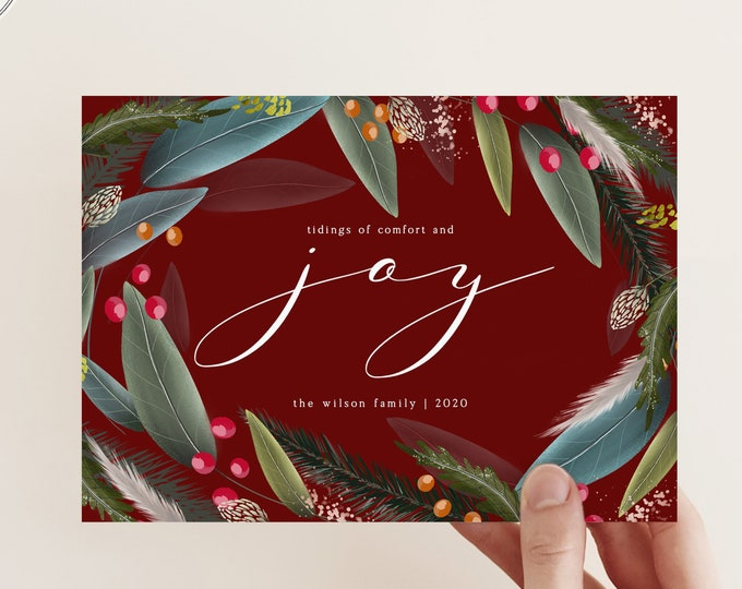 Modern Non-Photo Holiday Card, Company Christmas Card Template, Overnight Printing, Digital Download, Red, Green, Happy Holidays, Self-Print