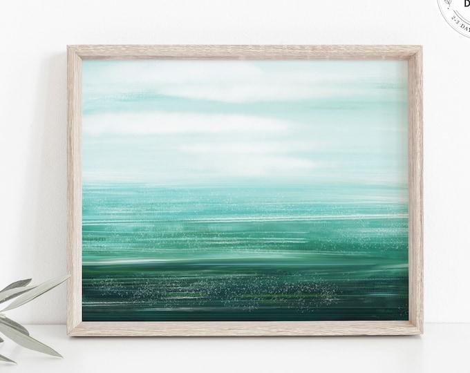Tropical Ocean Watercolor Print, Blue-Green Ocean Painting, Modern Coastal Art Print, Digital or Physical, Seascape Art, Minimalist Beach