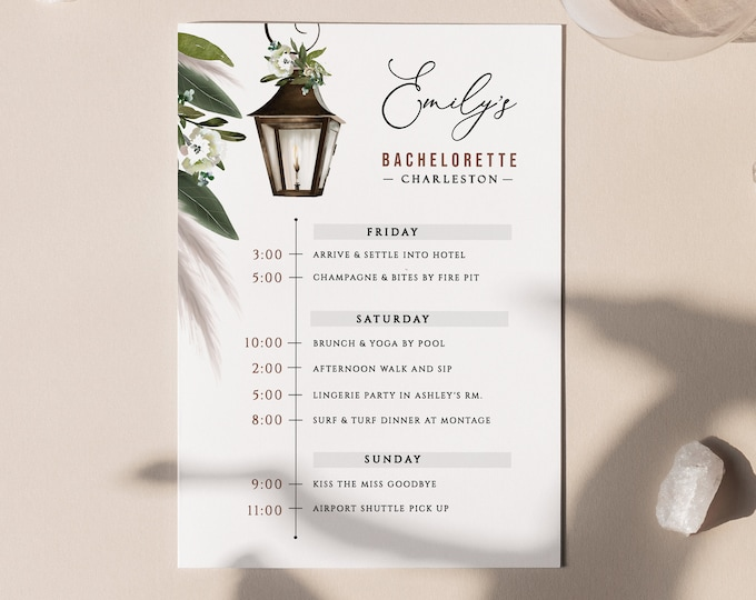 Bachelorette Party Schedule, Charleston, Savannah, New Orleans, Templett, Digital, Weekend Events, Southern, Download, Rustic, Hen's Party
