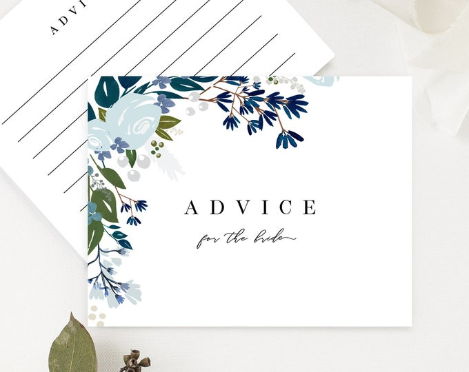Advice for the Bride Cards, Printable Advice Cards, Navy Blue, Dusty Blue, Greenery, Bridal Shower Games, Baby Shower, Instant Download, 122