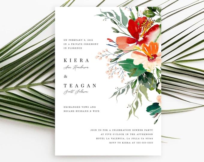 Elopement Announcement, Wedding Announcement, Editable Invitation, Tropical, Flowers, Hibiscus, Printable, Self Editing, We Eloped, 007