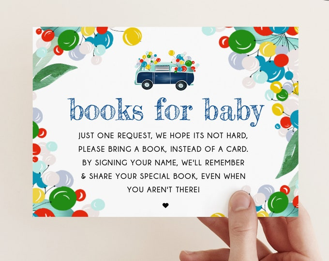 Drive By Baby Shower, Bring a Book Request, Editable Insert Card, Instead of Card, Downloadable Books for Baby, Balloon Theme Gender Neutral