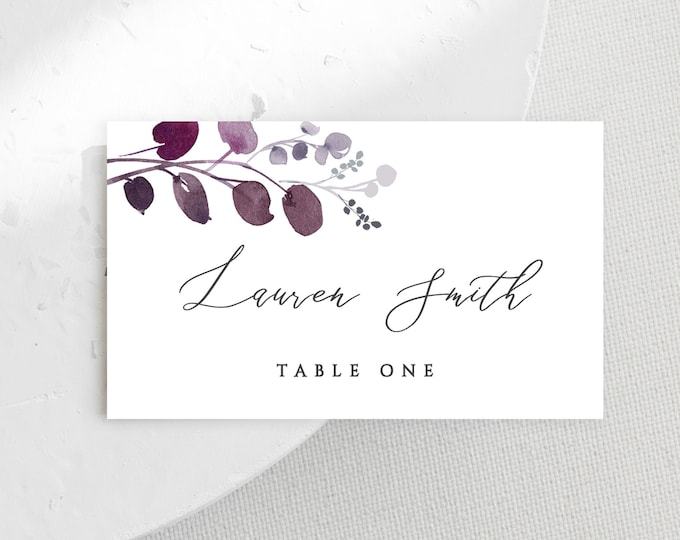 Wedding Place Cards, Printable, Editable Template, Plum, Purple, Lavender, Gray, Name Cards, Templett, Calligraphy, Instant Download, DIY