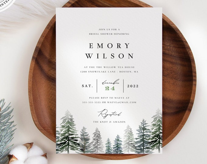 Winter Bridal Shower Invitation, 100% Editable Text, Instant Download Holiday Couples Shower Invite, Printable Invitation Template, Greenery