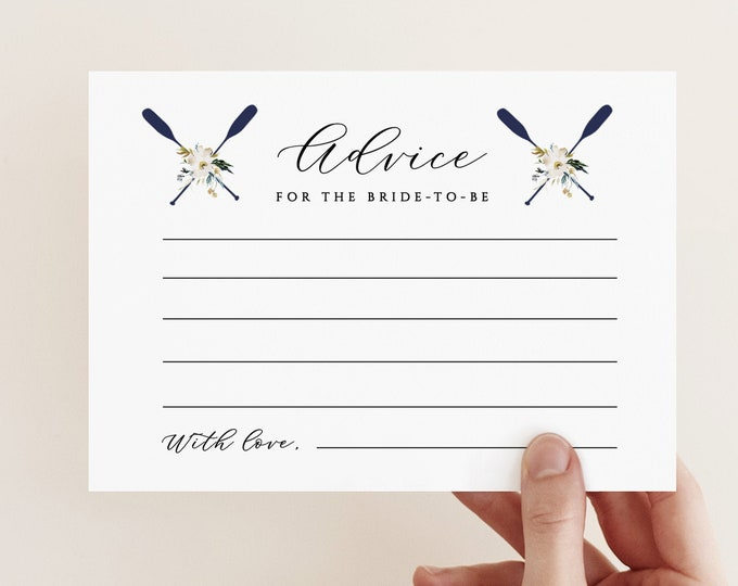 Nautical Advice Insert Card, Lake Theme Advice For the Bride, Printable Template Coastal Theme, Baby Shower Advice Template, Printable 634