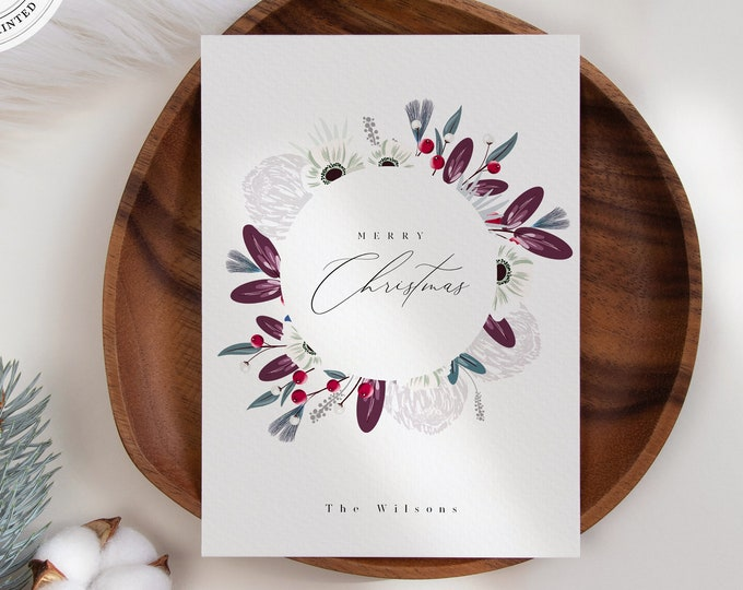 Christmas Card Template, Instant Download, Modern Watercolor Holiday Card, Non-Photo or With Photo Printable Template, Illustration Florals