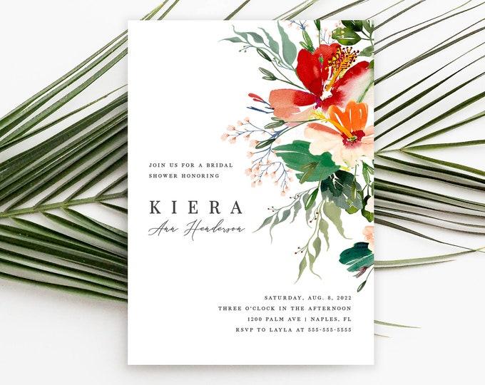 Bridal Shower Invitation, INSTANT DOWNLOAD, Tropical, Luau Bridal Shower Invite, Editable, Beach, Tropical Flowers, Brunch, Printable 007