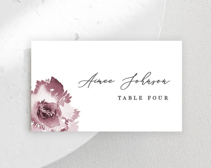 Escort Card Template, INSTANT DOWNLOAD, Printable Place Cards, Dusty Rose, Blush, Mauve, Floral, Editable Text, Downloadable, Table Tent 445