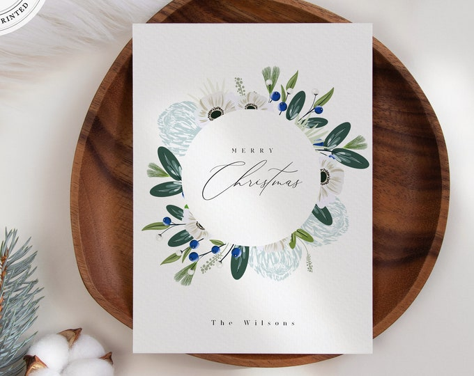 Modern Holiday Card Printable, Christmas Card with Photo or Without Photo, Greenery Leaves, Vertical Editable Template, Instant Download