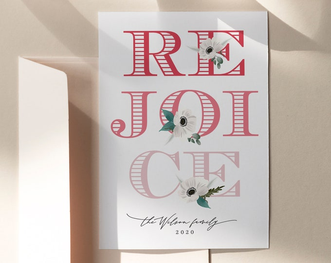 Modern Pink Christmas Card Template, With or Without Photo, Customizable Religious Card, Instant Download, Self-Print or Overnight Shipping