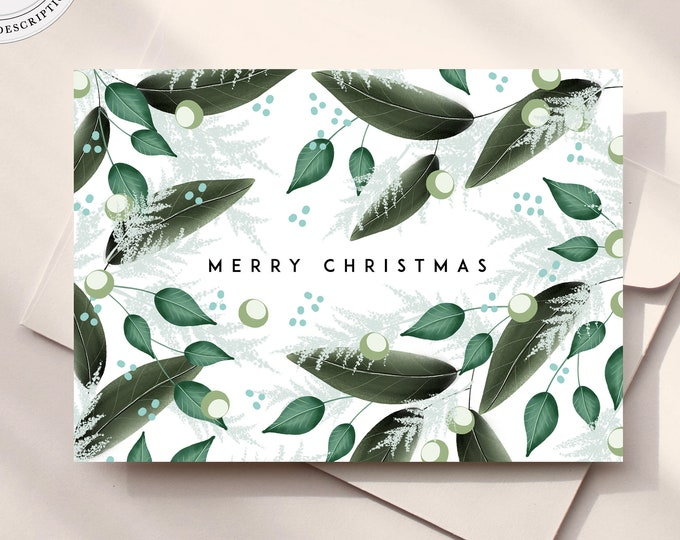Christmas Card Template, Instant Download, Printable Christmas Cards, Greenery, Watercolor Leaves, Photo Holiday Card Download,Editable Text