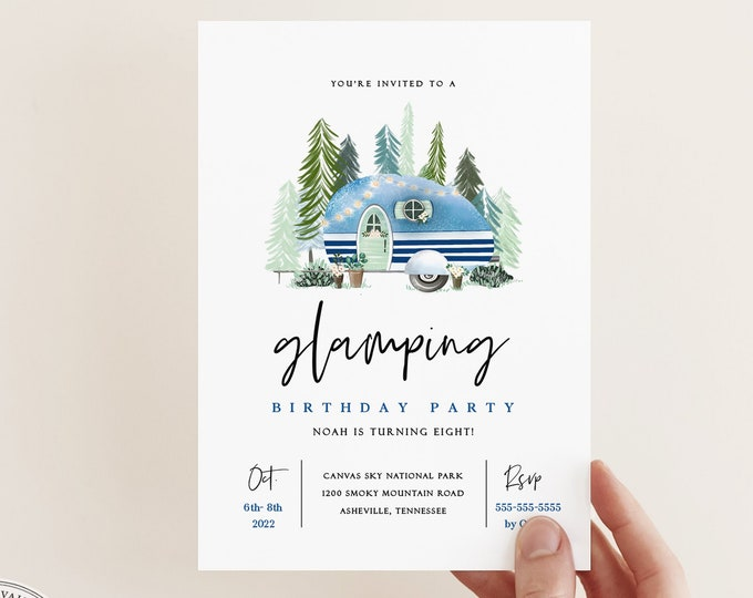 Glamping Birthday Party Invitation, Instant Download, Weekend Retreat Invite, Downloadable Template, Digital Invitation, Camper Party Invite