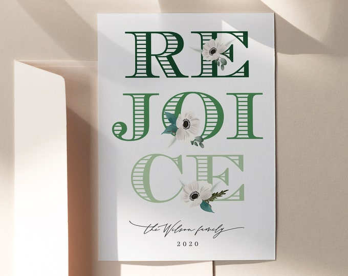 Holiday Card Template, Modern Christmas Card, Photo or Non-Photo, Editable Templett, Overnight Printing Offered, Green, Printable Christmas