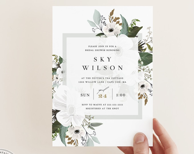Sage Green Bridal Shower Invitation Template, Modern Greenery and White Wedding, Garden Boho Invitation, Instant Download, Editable Text