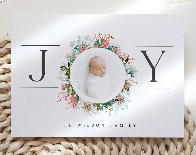 Baby Girl Photo Announcement Card, Instant Download, Christmas Baby Announcement, Printable Family Holiday Card, Editable Template, Digital