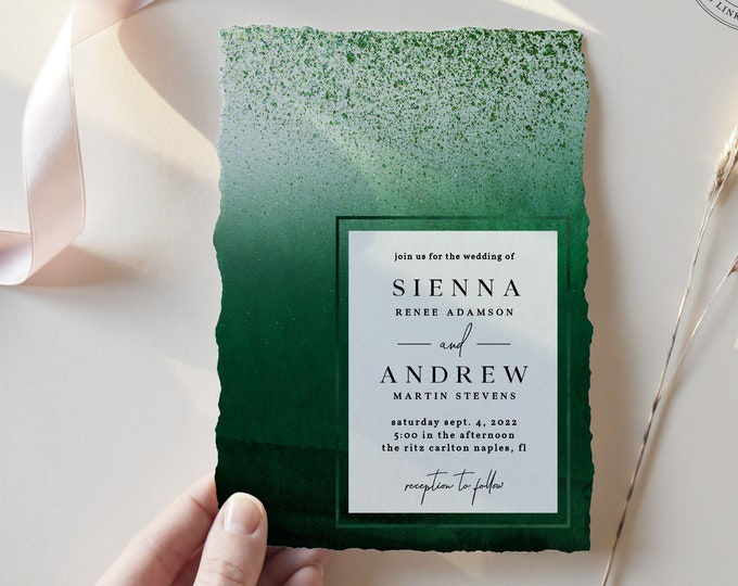 Emerald Green Wedding Invitation, Dark Green Watercolor Wedding Invitation, Minimalist Wedding Invite Set, Instant Download or Printed Suite