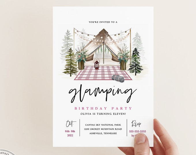 Girls Glamping Party Invitation, Instant Download, Rustic Camping Party Invite, Bridal Shower, Bachelorette, Outdoorsy, Editable Text Pink