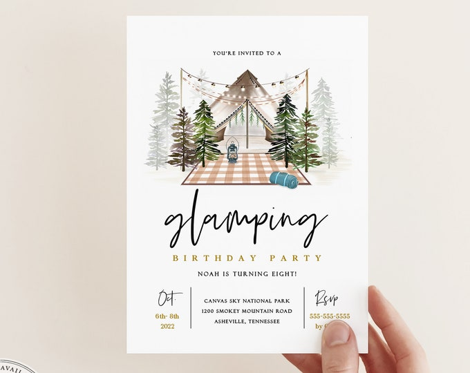 Yurt Camping Invitation, Glamping Tent Outdoors Party Invites, Editable Text, Kid's Birthday party Camper Invite, Templett, Printable E-vite