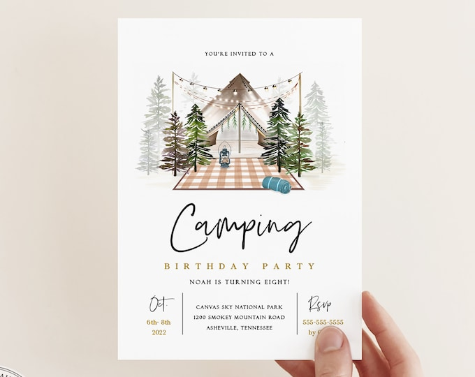 Camping Birthday Party Invitation, Tent Sleepover Party, Yurt Glamping Invite, Instant Download, Editable Template, Digital Invite, Rustic