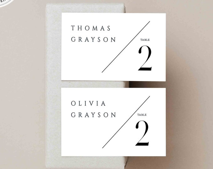 Minimalist Name Card Template, Printable Escort Card, Folded and Flat, Self-Editing Text, Instant Download, Black White, Modern Place Card