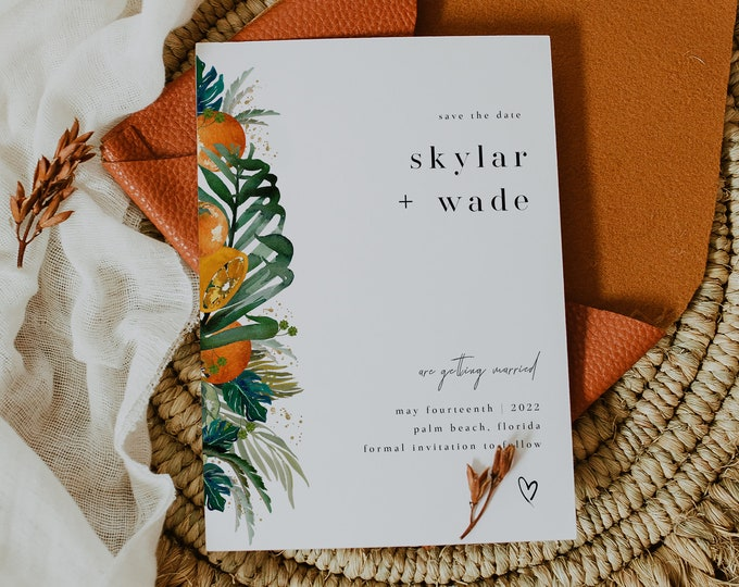 Orange and Palm Leaves Save the Dates, Editable Template, Minimalist Beach Save Our Date, Destination Wedding, Tropical Theme, Instant Down