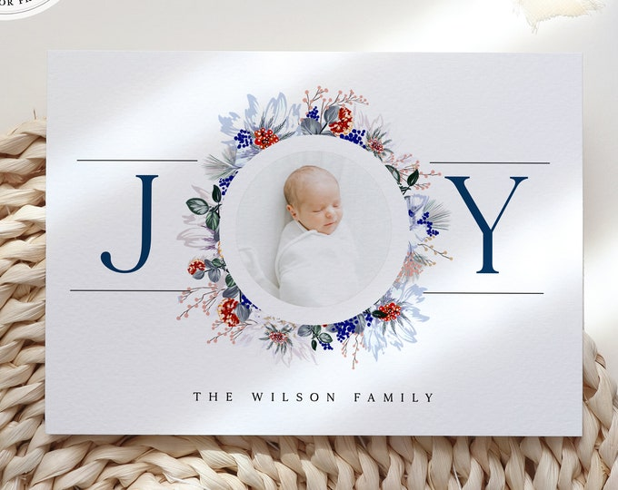 Christmas Baby Announcement Card, With Photo, Baby Boy, Modern, Instant Download or Printed Cards, Edit with Templett, Blue, Watercolor, PDF