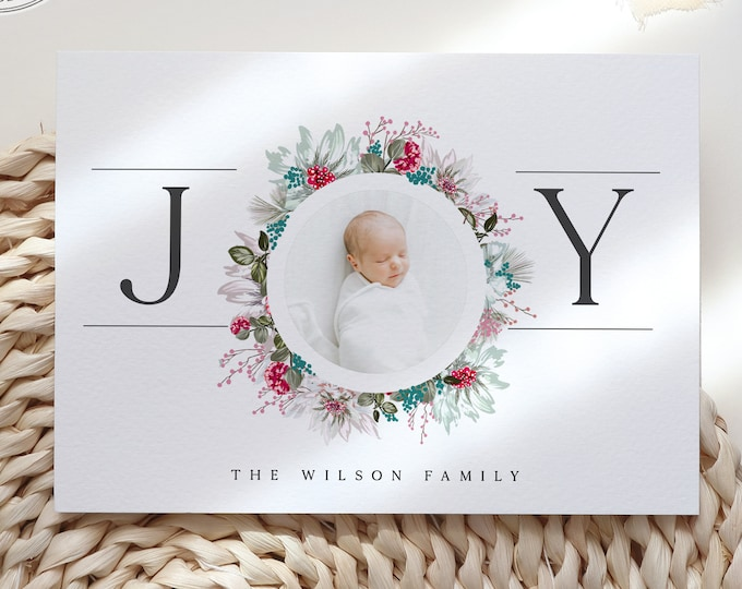 Downloadable Christmas Cards, Merry Christmas Template, Happy New Year Card with Picture, Watercolor Wreath, Instant Download or Printed Set