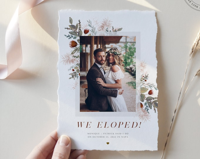 Elopement Announcement Template, Instant Download, Rustic Boho Reception Invitation with Photo, We Tied the Knot Picture, Holiday Wedding