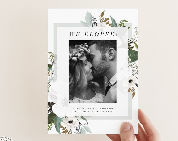 Wedding Announcement Photo Card, Elegant Marriage Announcement, Instant Download, Natural Greenery Watercolor, Elopement with Picture Card