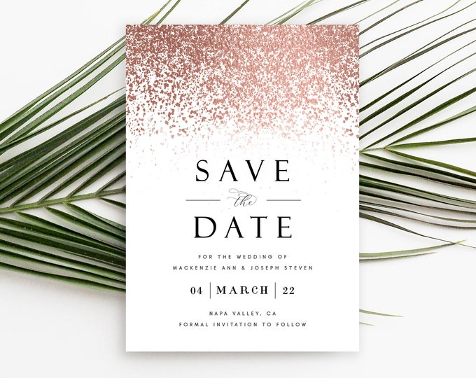 Rose Gold Save the Date Card, Save the Date Photo Card, Rose Gold Foil, Confetti, Editable Save the Date, Printable, Instant Download, 755
