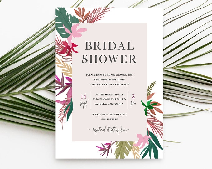 EDITABLE Tropical Bridal Shower Invitation, Template, Instant Download, Beach Wedding, Pink, Green, Bridal Brunch Invitation, Printable, PDF