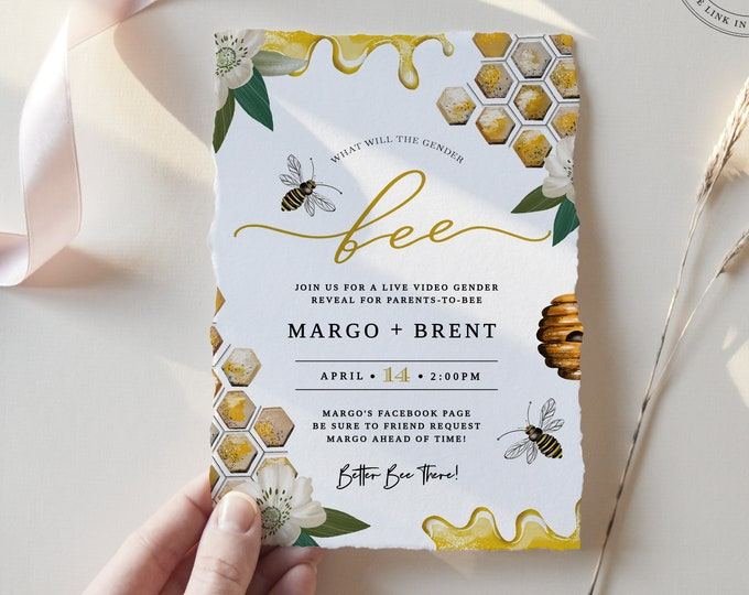 Bee Gender Reveal Invitation Template, Editable Text, Virtual, Live Video, What Will It Bee, Textable Invite, Printable, Babee Bumblebee 105