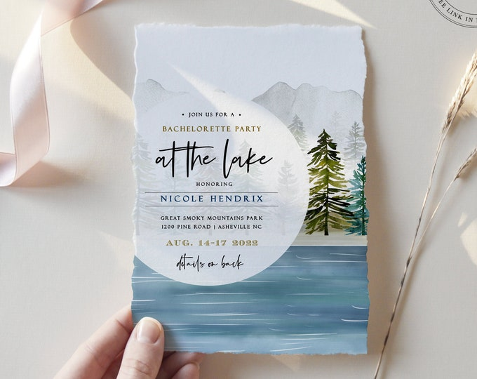 Lake Bachelorette Party Invitation, Editable Itinerary, Weekend Schedule, Instant Download, Printable, Camping Bachelorette, Mountains, 106