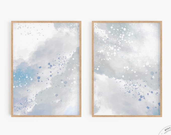 Abstract Cloud Painting, Set of 2, Housewarming Gift, Light Blue Abstract Art Print Set, Minimalist Downloadable Artwork Print Series, Sky
