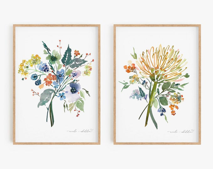 Art Print Set of 2, Watercolor Florals, Wildflowers, Blue, Green, Tropical Art, Coastal Art, Printed or Digital, Painting, Home Decor, Gift