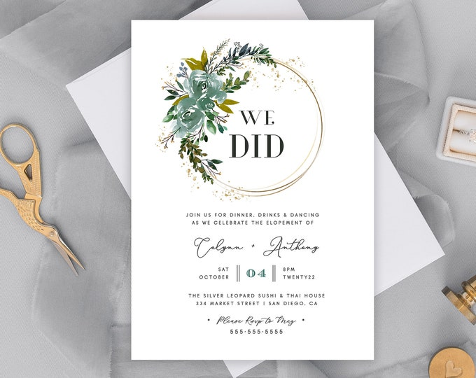 Elopement Reception Invitation, Greenery, Rustic, Spring, Summer, Gold, Fully Editable, Printable Elopement Invite, We Tied the Knot, PDF