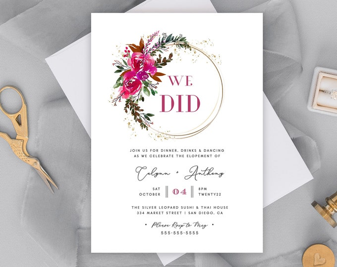 Elopement Reception Invitation, Pink, Glam, Modern, Greenery, Gold, Fully Editable, Printable Elopement Invite, We Tied the Knot Party, PDF