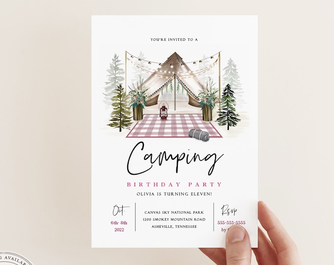 Camping Invitations Printable, Girl Slumber Party Invitation Download, Boho Yurt Invitation Template, Instant Download, Pink Camping