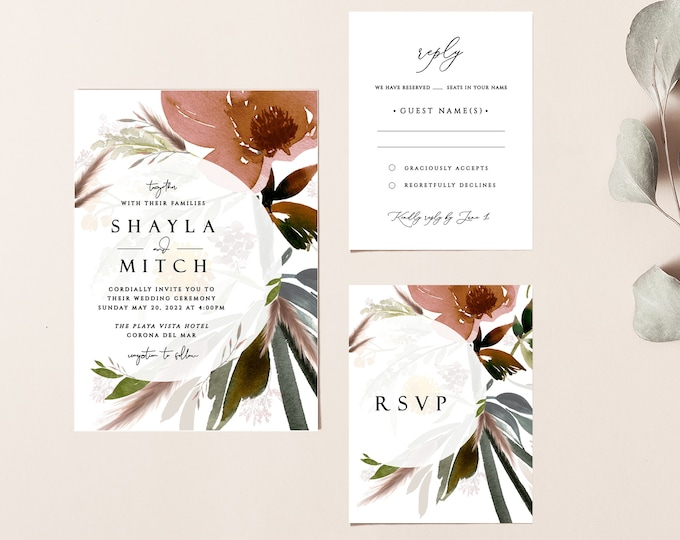 Printable Wedding Invitation Template, Rustic, Wedding Invitation Suite, Set, Romantic Invite, Dusty Rose, Boho, Blush, Instant Download 044