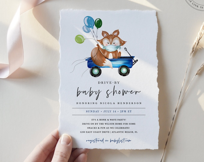 Drive Through Baby Shower Invitation, Editable Invite, Downloadable, Social Distancing Drive By Parade, Woodland Animal Baby Shower Invite