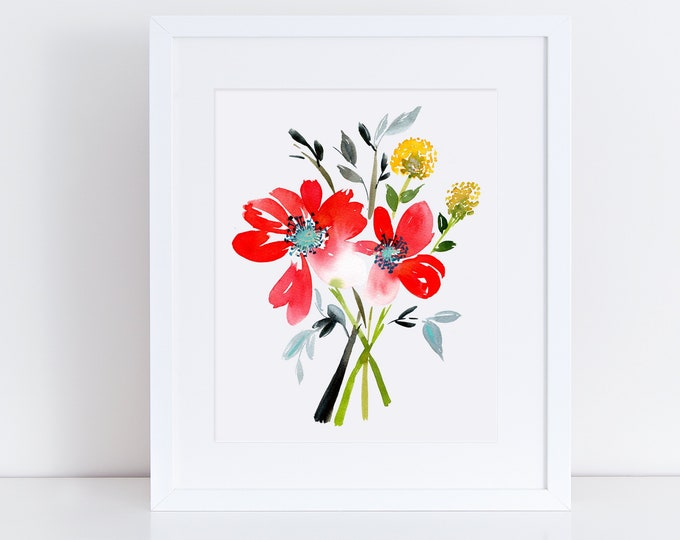 Floral Watercolor, Giclee, Floral art print, home décor, wall art, poppies, Printable, Christmas Gift, Tropical, Printed, Housewarming Gift
